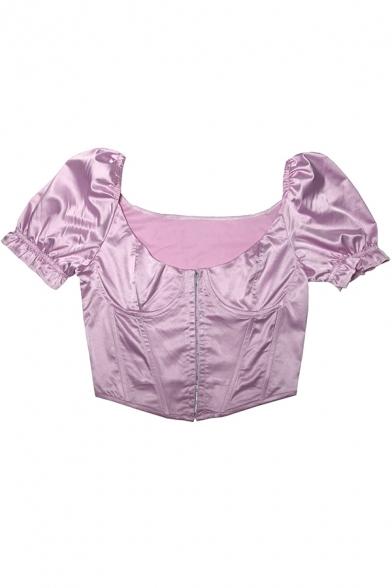 Ladies Stylish Shirt Solid Color Short Sleeve Scoop Neck Asymmetric Hem Fit Crop Shirt Top