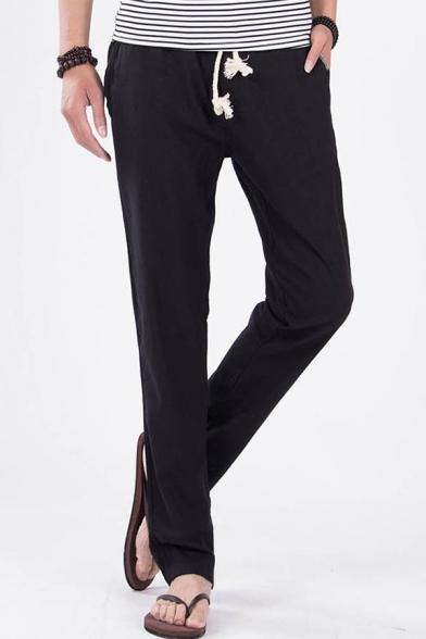 Mens Simple Plain Drawstring Waist Casual Linen Cropped Pants