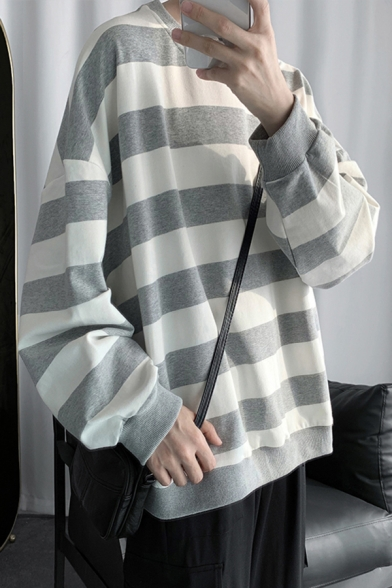 Trendy Mens Sweatshirt Stripe Print Thick Drop Shoulder Loose Fit Crew Neck Long Sleeve Sweatshirt