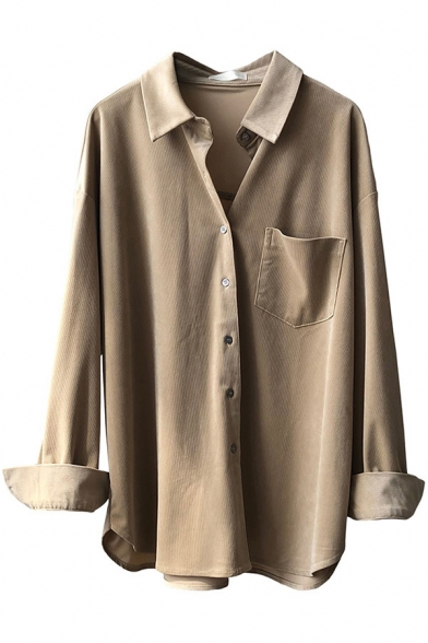 Womens Elegant Shirt Solid Color Long Sleeve Spread Collar Button Up Relaxed Fit Shirt Top