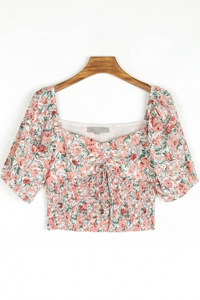 Chic Womens Shirt Ditsy Floral Print Short Sleeve Sweetheart Neck Drawstring Fit Crop Shirt Top in Red