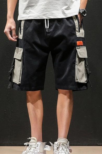 Summer Trendy Buckle Strap Colorblocked Multi-pocket Drawstring Waist Men's Casual Cargo Shorts