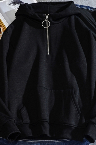 Trendy Boys Hoodie Solid Color Zipper Front Long Sleeve Pouch Pocket Loose Fit Hoodie