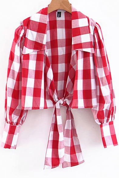Womens Shirt Stylish Checkered Pattern Tie-Hem Long Lantern Sleeve Turn down Collar Slim Fit Open Front Shirt