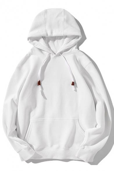 Mens Hoodie Stylish Plain Color Thickened Kangaroo Pocket Drawstring Oversize Long Sleeve Hoodie
