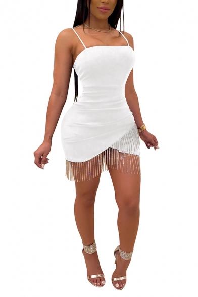 Basic Dress Womens Rhinestone Fringe Tulip Hem Spaghetti Strap Slim Mini Bodycon Dress
