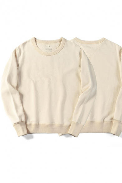 Chic Mens Sweatshirt Solid Color Rib Trim Crew Neck Relaxed Fit Long Sleeve Sweatshirt
