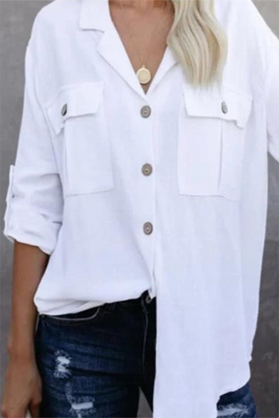 Womens Casual Plain White Long Sleeve Button Down Tunic Commuting Shirt with Pocket