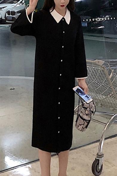 Retro Contrast Lapel Button Down Shift Knitted Midi Dress