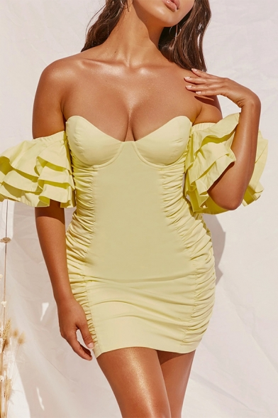 Womens Sexy Off the Shoulder Puff Sleeve Yellow Mini Sheath Tuxedo Dress for Party