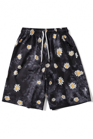 Vintage Mens Shorts Tie Dye Daisy Pattern Knee-Length Elastic Waist Regular Fitted Black Relaxed Shorts