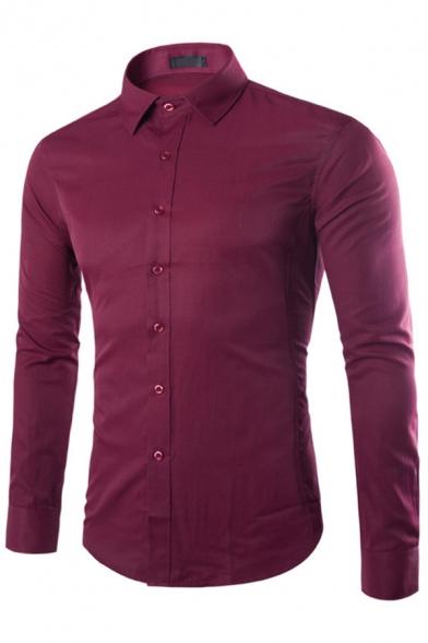 Elegant Men's Shirt Plain Button Closure Long Sleeve Lapel Slim Fitted Shirt