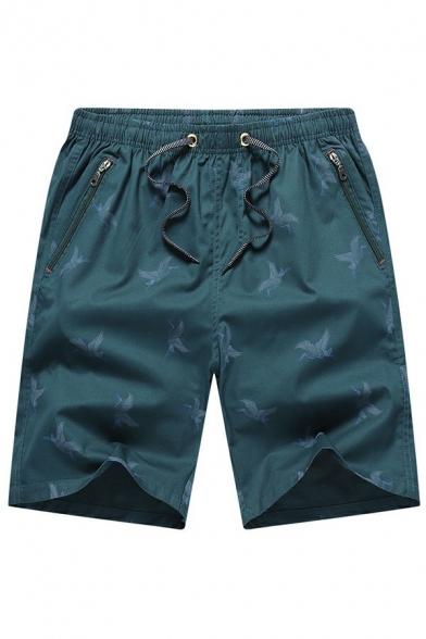 Men Leisure Shorts Graphic Printed Drawstring Mid Rise Zip Pocket Loose Fit Shorts