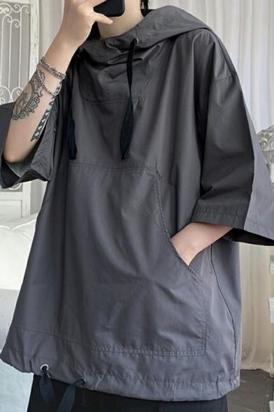 Popular Mens Hoodie Solid Color Drawstring Half Sleeve Loose Fit Hooded Sweatshirt