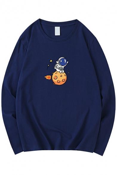 Streetwear Guys Sweatshirt Cartoon Astronauts Print Long Sleeve Round Neck Pullover Loose Sweatshirt