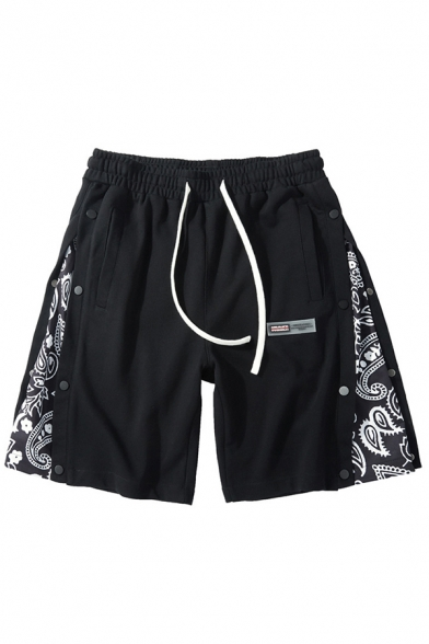 Fashionable Shorts Patchwork Mid Rise over The Knee Slouch Regular Shorts for Men