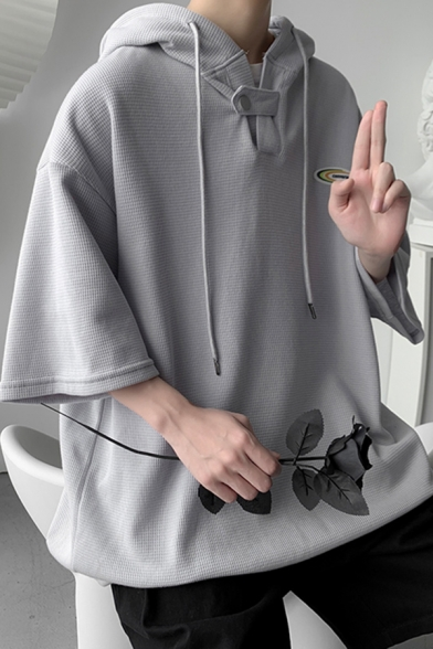 Men Popular Hoodie Solid Color Pull over Single Button Half Sleeve Oversize Hoodie