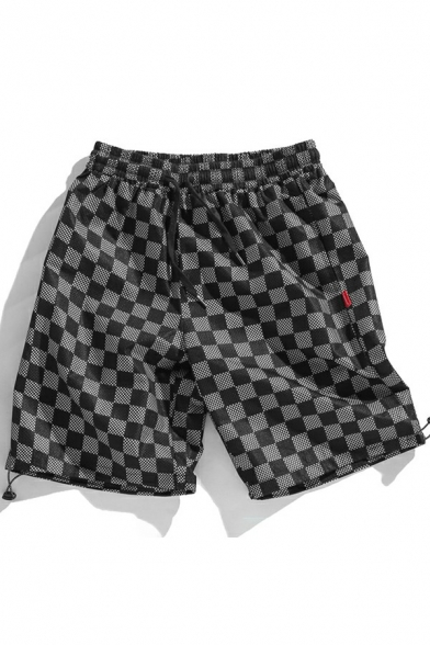 Fancy Shorts Variegated Print Drawstring Mid Rise Loose Fitted Mesh Shorts for Men