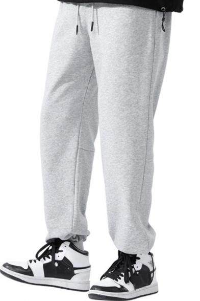 Leisure Mens Pants Plain Side Pockets Drawstrings Loose Fit Pants