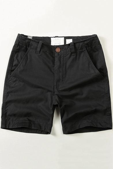 Men's Popular Lounge Shorts Solid Color Zipper Closure Pocket Detail Slim Shorts