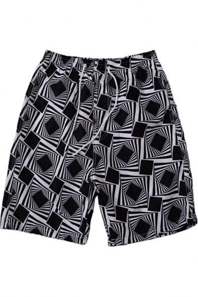 Stylish Shorts All Over Patterned Drawstring Mid Rise Loose Fit Shorts for Men