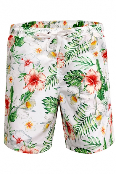 Men's Beach Shorts Flower Printed Drawstring Mid Waist Relaxed Fitted Shorts
