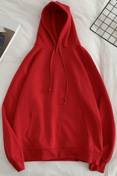 Simple Drawstring Hoodie Solid Color Long Sleeve Kangaroo Pocket Loose Fit Hoodie for Men