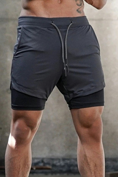 Mens Sporty Shorts Double Layer Camo/Pure Color Drawcord Waist Slim Active Shorts
