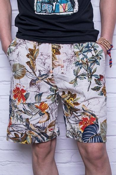 Fancy Men's Shorts Floral Print Drawstring Waist Over The Knee Pocket Detail Regular Fitted Shorts
