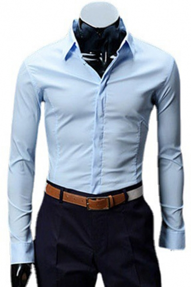 Classical Men's Shirt Solid Color Long-Sleeved Turn-down Collar Button-up Slim Fit Shirt Top
