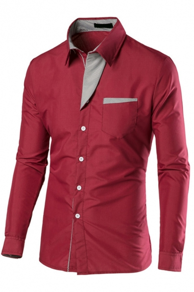 Fashionable Men's Button Shirt Contrast Panel Long Sleeve Lapel Slim Shirt