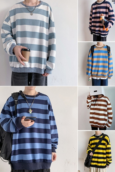 Leisure Men's Sweatshirt Striped Pattern Long Sleeves Round Collar Loose Pullover Sweatshirt Top