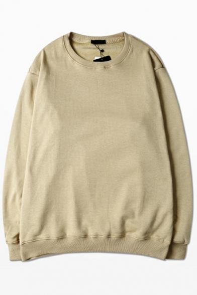 Basic Sweatshirt Solid Color Long Sleeve Crew Neck Regular Fit Pullover Sweatshirt for Men