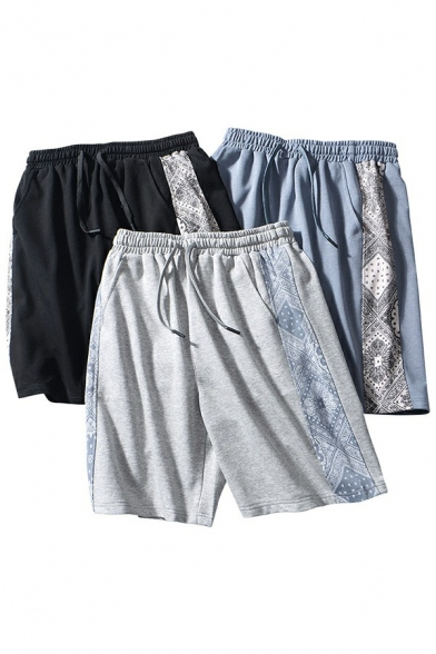 Guys Chic Shorts Contrast Side Panels Scarf Print Drawcord Waist Knee Length Relaxed Shorts