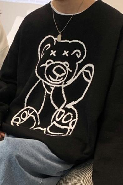 Urban Sweatshirt Bear Pattern Long-sleeved Round Neck Loose Fit Sweatshirt for Men