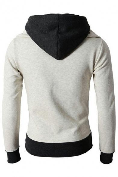 Edgy Mens Hoodie High Neck Color Blocked Zip Fly Long Sleeves Slim Fit Hoodie