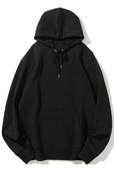 Casual Men's Hoodie Solid Color Long Sleeve Pocket Drawstring Decorate Fit Hoodie