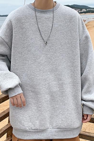 Mens Popular Sweatshirt Pure Color Long Sleeve Crew Neck Loose Sweatshirt Top
