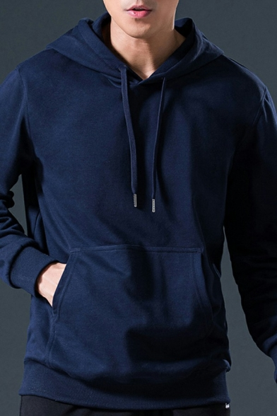 Men Oversized Hoodie Solid Drawstring Pouch Pocket Rib Cuffs Long-sleeved Loose Fit Hoodie