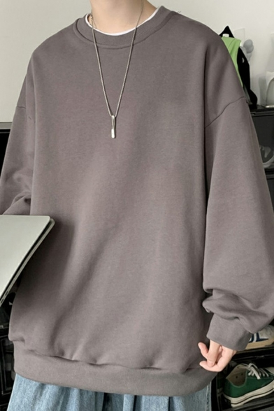 Stylish Sweatshirt Solid Color Long-Sleeved Round Neck Loose Fit Sweatshirt for Men