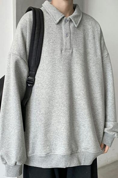 Men Oversized Sweatshirt Solid Color 1/4 Button Collar Drop Shoulder Long-sleeved Sweatshirt