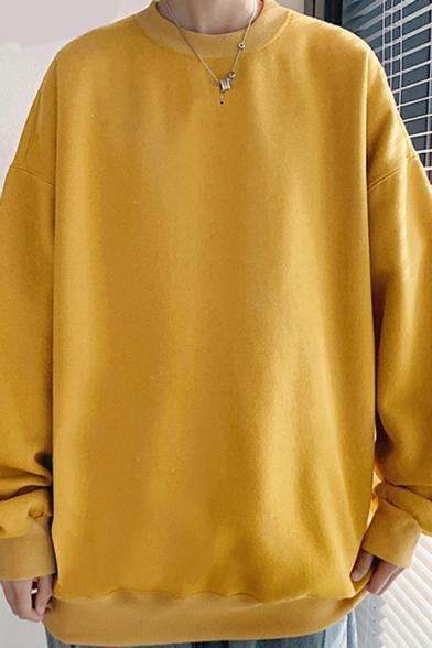 Dashing Mens Sweatshirt Solid Color Round Neck Pullover Rib Cuffs Loose Fit Sweatshirt