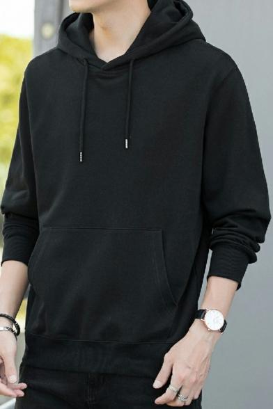Casual Men's Hoodie Kanga Pocket Solid Color Long Sleeves Regular Fit Drawstring Hoodie