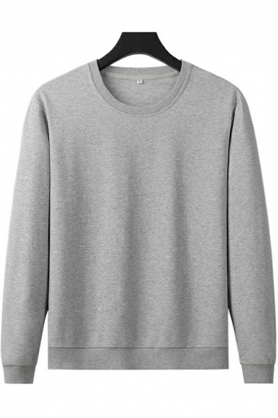 Normal Mens Solid Color Sweatshirt Long Sleeves Round Neck Loose Fit Soft Pullover Sweatshirt