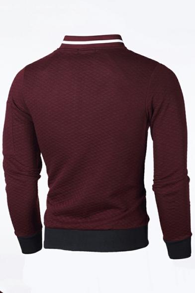 Casual Mens Sweatshirt Contrast Panel Zip Fly Long Sleeve Stand Collar Slim Fit Sweatshirt