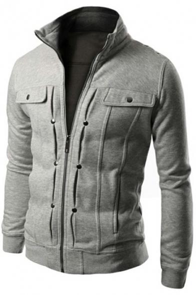 Cool Men's Sweatshirt Solid Color Chest Pockets Zip-Fly Long Sleeves Stand Collar Slim Fit Sweatshirt