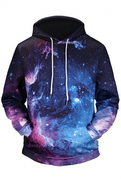 Fancy Mens Hoodie 3D Galaxy Printed Drawstring Front Pocket Long Sleeve Relaxed Hoodie in Black-Blue