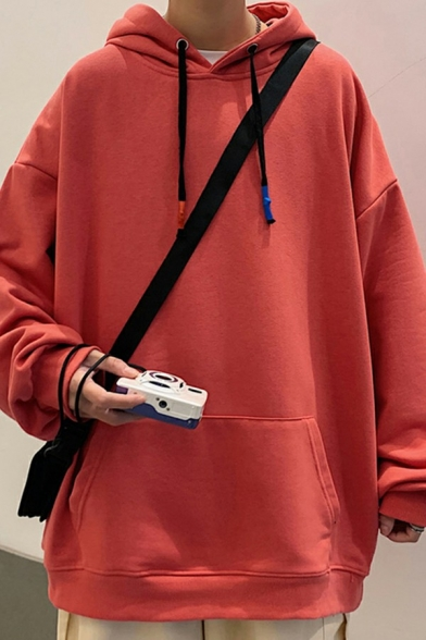 Cool Plain Rib Cuffs Long Sleeves Hoodie Big Pocket Drawstring Hoodie for Men