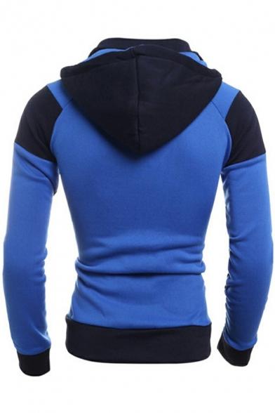 Sporty Mens Zipper Hoodie Color Block Long Sleeve Slim-Fitted Drawcord Hoodie