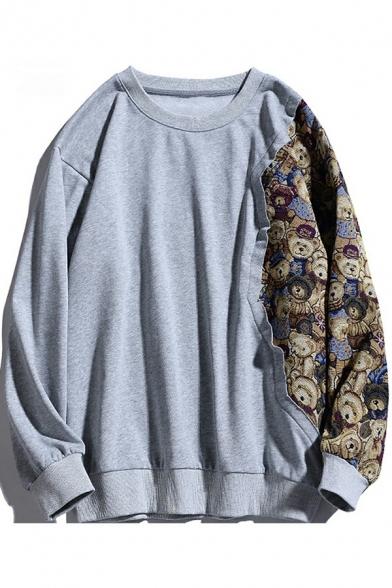Unisex Sweatshirt Men's Cool Stitching Bear Cartoon Pattern Long Sleeve Pullover Drawstring Regular Sweatshirt